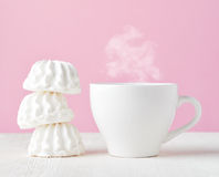 Marshmallow and cup of coffee Stock Photography