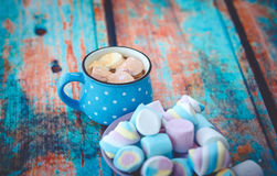 Marshmallow and cup of coffee Royalty Free Stock Photo