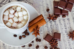 Marshmallow czekolada i filiżanka kawy Zdjęcia Stock