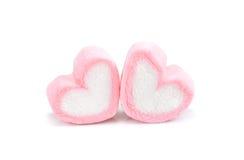 Marshmallow da forma do coração com em fundo, forma cor-de-rosa março do coração Imagem de Stock Royalty Free