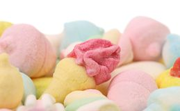 Marshmallow different forms. Close up. Stock Photo