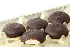 Marshmallow doce no chocolate fotos de stock