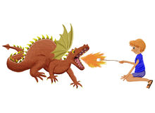 Marshmallow dragon. Cartoon of girl and dragon toasting marshmallows royalty free illustration