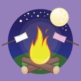 Marshmallow e fogueira ilustração do vetor