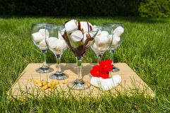 Marshmallow Extravaganza. This is a wonderful image of marshmallows displayed in wine glasses stock photography