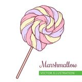 Marshmallow _2 fill. Spiral marshmallows candy hand drawn vector Illustration.  Pink Royalty Free Stock Photo