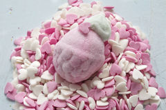 Marshmallow in form of strawberries, and sugar hearts Stock Photo