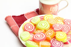 Marshmallow with gelatin dessert Royalty Free Stock Photos