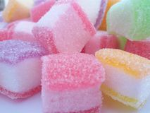 Marshmallow with gelatine dessert. Close up macro. Royalty Free Stock Photo
