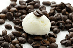 Marshmallow handicraft and coffee. Marshmallow craft of different colors with the berries of coffee Royalty Free Stock Photos
