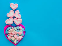 Marshmallow in a heart frame on Valentine`s Day Stock Photos