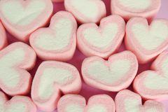 Marshmallow heart shape with love concept. On white background Stock Image