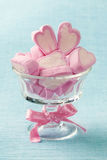 Marshmallow hearts. In glass bowl royalty free stock photography