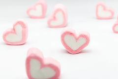 Marshmallow hearts valentine's day on white background Stock Photo