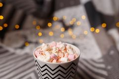 Marshmallow hot drink in the cold season. home made hot chocolate with marshmallow royalty free stock image
