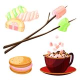 Marshmallow icons set, cartoon style stock illustration