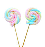 Marshmallow lollipop on white background Stock Photos