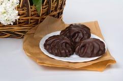 Marshmallow med choklad på en vit platta Royaltyfria Bilder