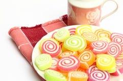 Marshmallow med gelatinefterrätten Royaltyfria Foton