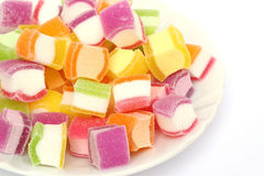 Marshmallow med gelatinefterrätten Royaltyfria Bilder