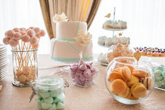 Marshmallow and meringue at white table Royalty Free Stock Photo