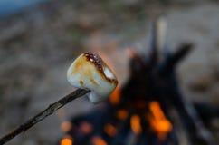 Marshmallow na gałązce piec na ogieniu zdjęcia stock