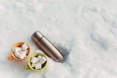 Marshmallow no copo e na garrafa térmica na neve Imagens de Stock