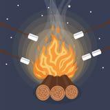 Marshmallow outdoor,  sweet marshmallows on stick over the bonfire. Marshmallow outdoor, campfire. Vector illustration Stock Photos