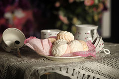 Marshmallow on a plate Stock Photos