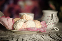 Marshmallow on a plate Royalty Free Stock Images