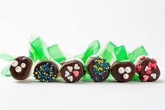 Marshmallow pops lying on white bacground. Chocolated marshmallows on white background Stock Images