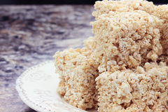 Marshmallow and Rice Cereal Bars Stock Photo