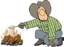 Marshmallow roast. This illustration depicts a cowboy roasting a marshmallow over a campfire Stock Photo