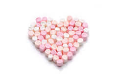 Marshmallow shape of heart Stock Images