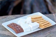 Marshmallow składniki przy talerzem zdjęcie royalty free
