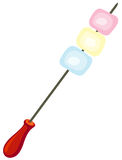 Marshmallow on skewer Stock Images