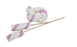Marshmallow on a skewer, isolated on white background Stock Photos