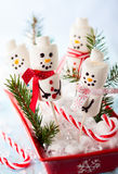Marshmallow snowmen Stock Photos
