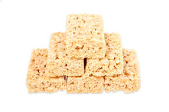 Marshmallow Squares. Rice marshmallow squares stacked on top of each other Stock Photography