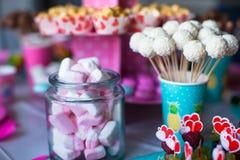 Marshmallow, sweet colored meringues, popcorn, Stock Photos