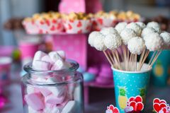 Marshmallow, sweet colored meringues, popcorn, Stock Images