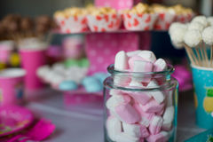 Marshmallow, sweet colored meringues, popcorn Stock Photography