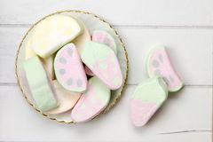 Marshmallow sweets on a wooden surface Royalty Free Stock Photos