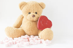 Marshmallow with teddy bear isolate on the white background Stock Photo