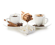 Marshmallow with two cups of hot chocolate Royalty Free Stock Image