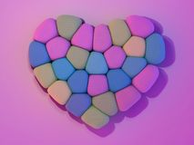 Marshmallow for Valentine Day in heart shape. 3D. Rendering Stock Image