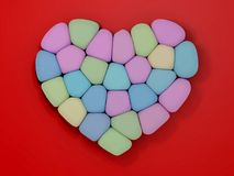 Marshmallow for Valentine Day in heart shape. 3D. Rendering Royalty Free Stock Images