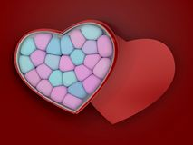 Marshmallow for Valentine Day in heart shape. 3D. Rendering Royalty Free Stock Photo