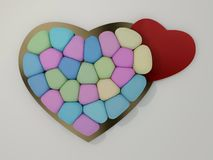 Marshmallow for Valentine Day in heart shape. 3D. Rendering Royalty Free Stock Photography