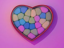 Marshmallow for Valentine Day in heart shape. 3D. Rendering Stock Photos